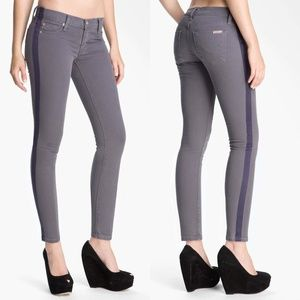 Hudson 'Loulou' Gray Skinny Cropped Tuxedo Jeans